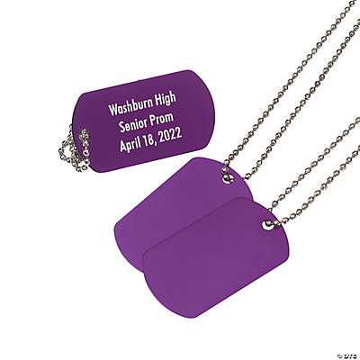 Personalized Purple Dog Tag Necklaces Image Thumbnail