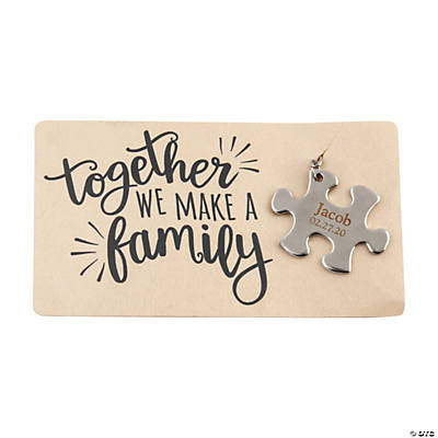 Personalized Puzzle Piece Key Chain with Card