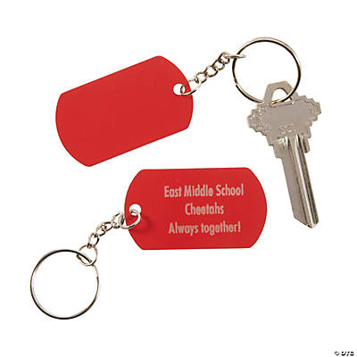 Personalized Red Dog Tag Keychains Image Thumbnail