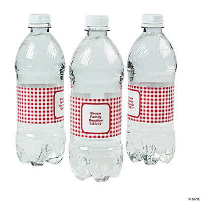 Personalized Red Gingham Water Bottle Labels Discontinued