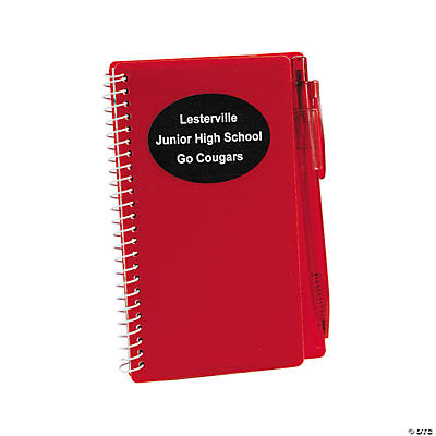 Personalized Red Spiral Notebooks with Pens