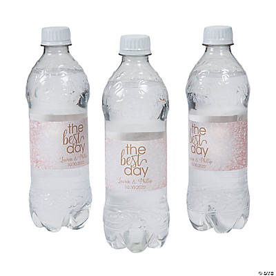 Personalized Rose Gold Best Day Ever Water Bottle Labels