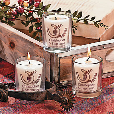Personalized Rustic Western Wedding Votive Candle Holders