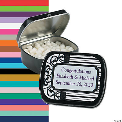 Personalized Scrollwork & Stripes Mint Tins