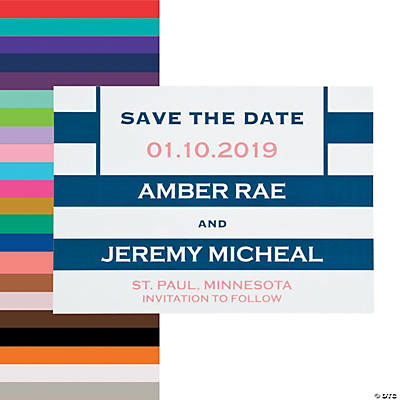 Personalized Simple Stripe Save the Date Cards Image Thumbnail