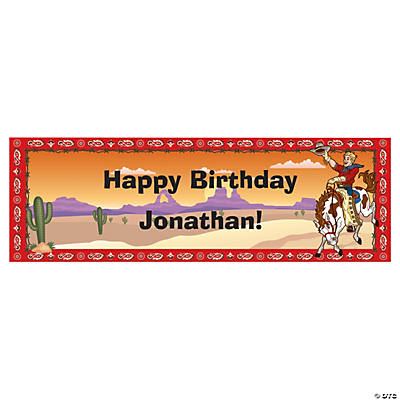 Personalized Small Cowboy Birthday Vinyl Banner Image Thumbnail