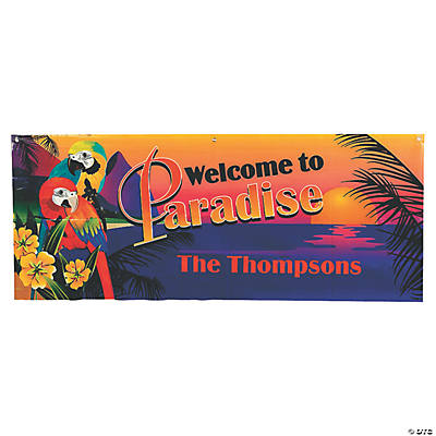 Personalized Small Luau Parrot Plastic Banner Image Thumbnail