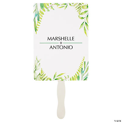 Personalized Spring Greenery Favor Fans Image Thumbnail
