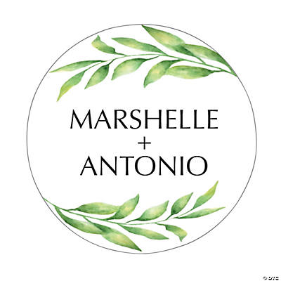 Personalized Spring Greenery Favor Stickers Image Thumbnail