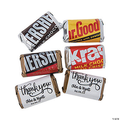Personalized Thank You Mini Candy Bar Sticker Labels Image Thumbnail