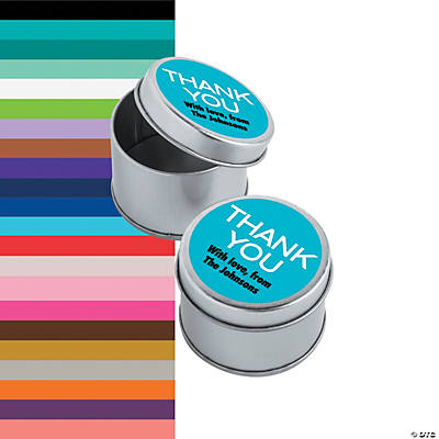 Personalized Thank You Round Favor Tins