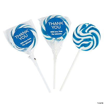 Personalized Thank You Swirl Lollipops - Blue Image Thumbnail