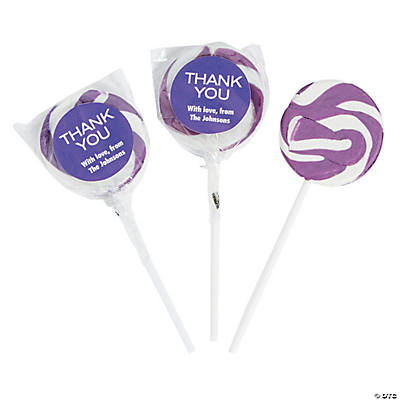 Personalized Thank You Swirl Lollipops - Purple Image Thumbnail
