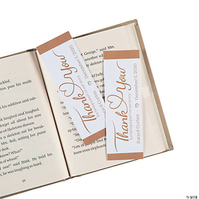 Personalized Thank You Wedding Bookmarks Image Thumbnail