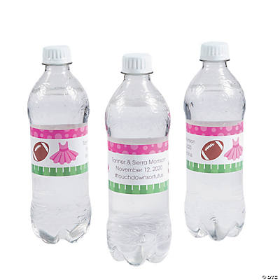 Personalized Touchdowns or Tutus Water Bottle Labels Image Thumbnail