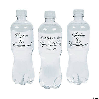 Personalized Traditional Script Wedding Water Bottle Labels Image Thumbnail