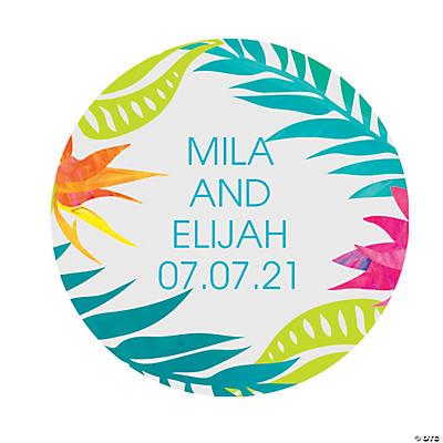 Personalized Tropical Wedding Favor Stickers