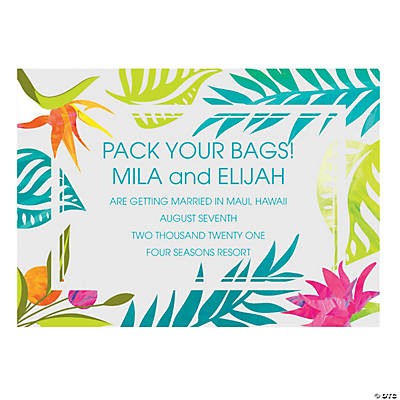 Personalized Tropical Wedding Save the Date Cards
