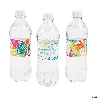 Personalized Tropical Wedding Water Bottle Labels