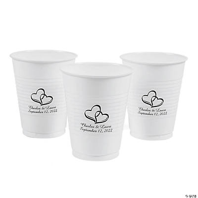 Personalized Two Hearts Disposable Plastic Cups Image Thumbnail