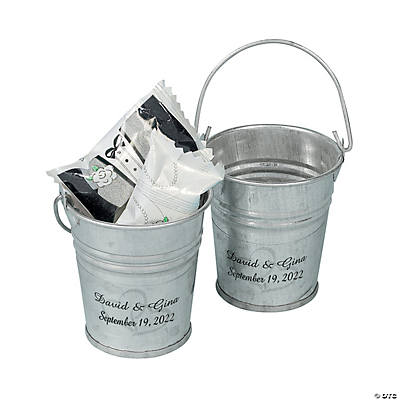 Personalized Two Hearts Mini Silver Favor Pails