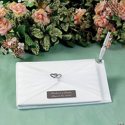 Personalized Two Hearts Wedding Guest Book & Pen Set
