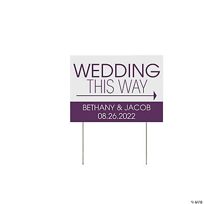 Personalized Wedding This Way Double-Sided Yard Sign Image Thumbnail