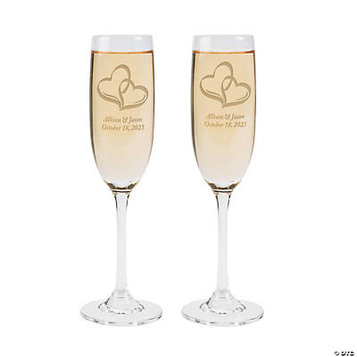 Personalized Wedding Two Hearts Champagne Flute Set Image Thumbnail