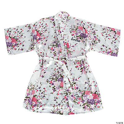 Personalized White Floral Robe Image Thumbnail