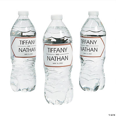 Personalized White Marble Water Bottle Labels