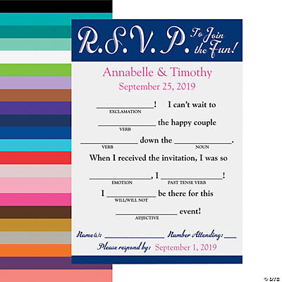 Personalized Word Fun Wedding RSVP Postcards