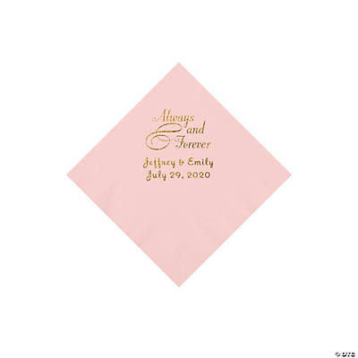 Pink Always & Forever Personalized Napkins with Gold Foil - Beverage Image Thumbnail