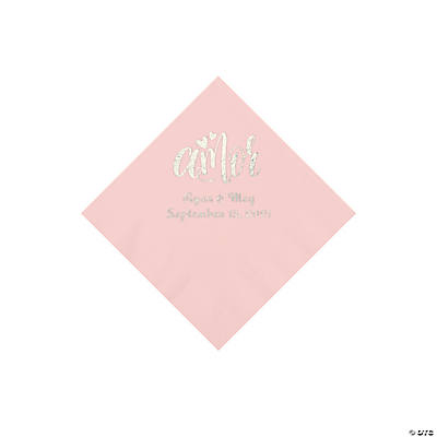 Pink Amor Personalized Napkins with Silver Foil - Beverage Image Thumbnail