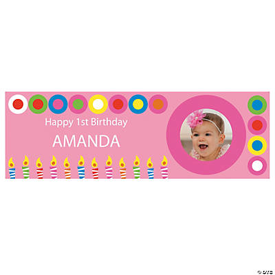 Pink & Candles Birthday Photo Custom Banner - Small Image Thumbnail