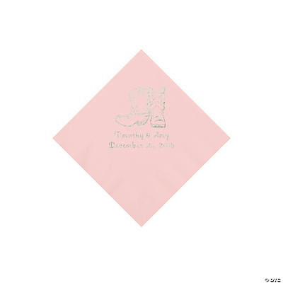 Pink Cowboy Boots Personalized Napkins with Silver Foil - Beverage Image Thumbnail