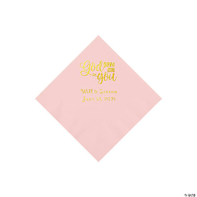 Pink God Gave Me You Personalized Napkins with Gold Foil - Beverage Image Thumbnail