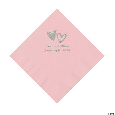 Pink Hearts Personalized Napkins with Silver Foil - Luncheon Image Thumbnail