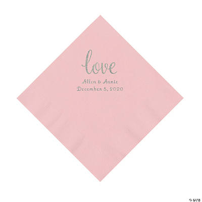 Pink Love Script Personalized Napkins with Silver Foil - Luncheon Image Thumbnail