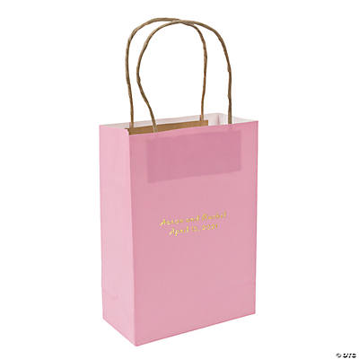 Pink Medium Personalized Kraft Paper Gift Bags with Gold Foil Image Thumbnail