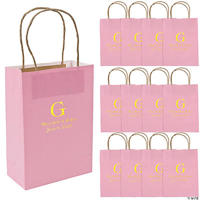Pink Medium Personalized Monogram Welcome Gift Bags with Gold Foil