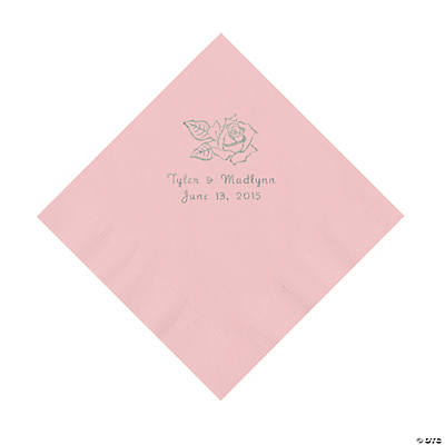 Pink Rose Personalized Napkins - Luncheon Image Thumbnail