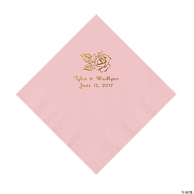Pink Rose Personalized Napkins with Gold Foil - Luncheon Image Thumbnail