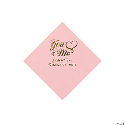 Pink You & Me Heart Personalized Napkins with Gold Foil – Beverage Image Thumbnail