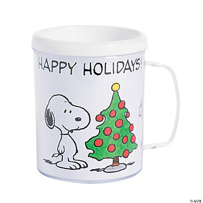 Christmas Mugs.Plastic Color Your Own Peanuts Christmas Mugs
