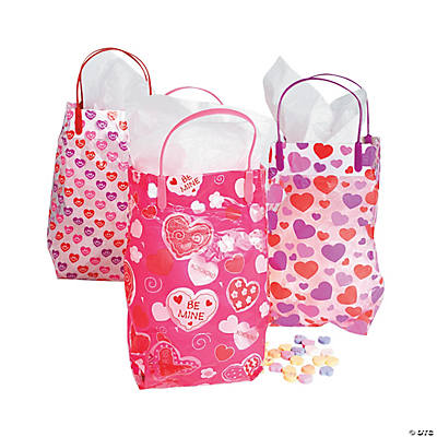 Plastic Patterned Valentine Gift Bags
