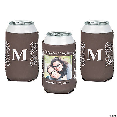 Premium Flourish Monogram Custom Photo Can Coolers