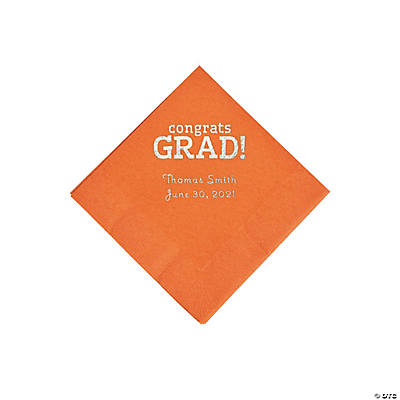 Pumpkin Congrats Grad Personalized Napkins with Silver Foil - Beverage Image Thumbnail