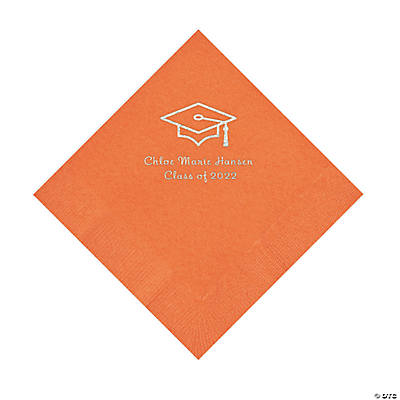 Pumpkin Grad Mortarboard Personalized Napkins with Silver Foil – Luncheon Image Thumbnail