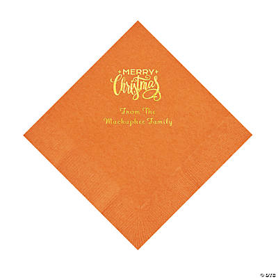 Pumpkin Merry Christmas Personalized Napkins with Gold Foil – Luncheon Image Thumbnail