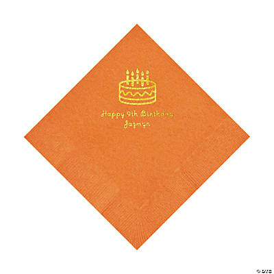 Pumpkin Orange Birthday Cake Personalized Napkins with Gold Foil - Luncheon Image Thumbnail